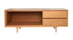 Mueble de Television Coleccion Escandinava de Roble. Medida 150L X 40F X 55h  Disponible en otras medidas, acabados y configuracion.