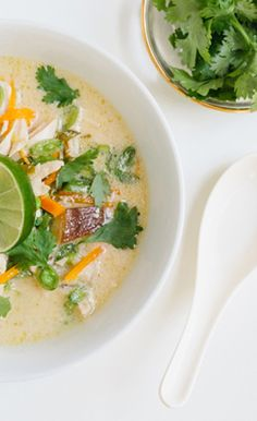 Loosely based on the Thai soup Tom Kha Gai, this version comes together in under an hour with easy to find ingredients.