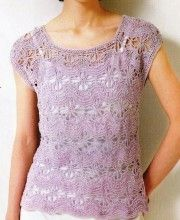 Lavender top crochet and knitting - Free pattern
