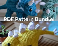 Want double the herbivore dinosaur? Hide the house plants, this pattern bundle pack includes Awkward Soul Designs Triceratops and Stegosaurus Amigurumi Crochet Dinosaur Patterns, Crochet Patterns Amigurumi, Amigurumi Doll, Crochet Dolls, Soul Design, Crochet Dragon, Cute Crochet, Crochet Animals, Stuffed Toys Patterns