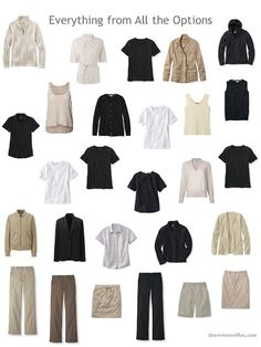 a large warm-weather wardrobe in black and beige