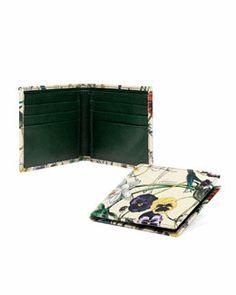 N2D5P Gucci Floral-Print Leather Wallet