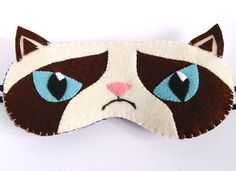 Grumpy Cat Sleep Mask Animal Eye Mask White and Brown Sleeping Mask Wool Felt Handmade