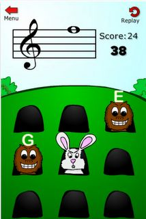 Note Squish This is a cute drill and practice app for note names. The cost is $0.99 for iphone (but it can be enlarged for iPad). It's kind of like Whack-a-Mole. You can choose the clef (treble, bass, C-Clef), range of notes used, speed, and letters or solfege. The object is to whack the mole with the correct note name on it. You can whack the other animals that appear for bonus points.