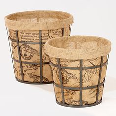 Wire baskets with Coffe Sack or Burlap Liners
