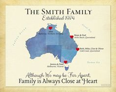 Holiday Gift for Family, Long Distance Present for Parents, Personalized Australia Map Print, Moving Away Gift, Family Quote #AustraliaMap #Family Gift
