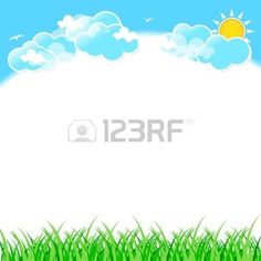 border: Green grass on blue sky background with clouds.