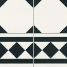 Victorian Black and White Octagon Effect Floor Tile Border Piece £5.79 per linear m  £1.94 ea