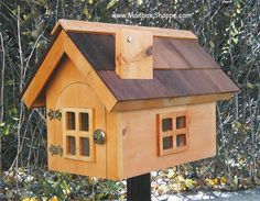 cottage style mail boxes | Cedartone sealed pine body with real cedar roof.