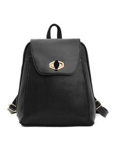 Black Zipper Backbag   Choies
