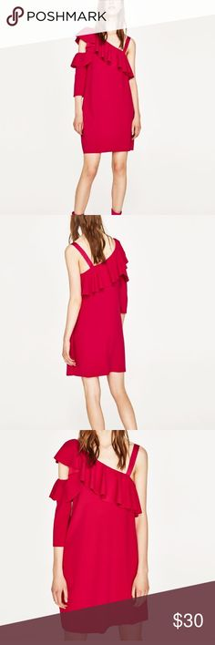 Zara one shoulder ruffle dress TRF Sold out Zara summer collection hot pink one shoulder dress from the TRF collection. Size small new with tags. Purchased in Miami Zara Dresses
