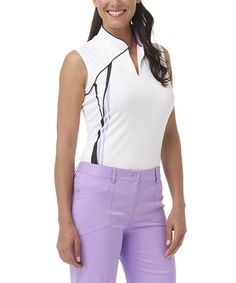 Take a look at this White Mandarin Polo - Women by Greg Norman Collection on #zulily today!