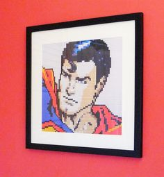 "Super Man print of original Lego® mosaic (12"" square) by OxfordBrickArt on Etsy"