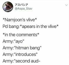 This is why Bang PD hates Army. Lol jk he loves us