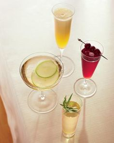 Crisp Cocktails  Make no mistake, this is not your mom's mimosa. Or your nonna's Bellini. These four signature drinks highlight sparkling wine's versatility, whether it's a citrus and Thai-chile sparkler, brandied cherry rose, a tarragon-Prosecco cocktail mildly flavored with licorice, or Champagne-Apple Punch.