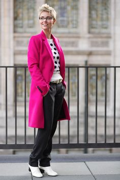 polka dots top with classic trench coat