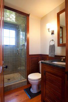 farm house style bathrooms | Shingle Style Carriage House - Bath farmhouse bathroom