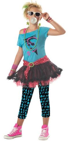 Teach your child about the '80's with this retro costume! Blue top with attached pettiskirt, printed leggings, one fishnet glove, scrunchy belt. Child medium si