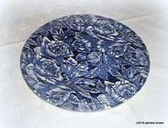 Vintage Bermuda Blue Charger Large Plate English Transferware Giant Floral Chintz Pattern by LionheartGalleries on Etsy