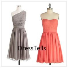 Custom Made Bridesmaid Dresses, Cheap bridesmaid dress, One Shoulder Short Dress, Coral Chiffon Bridesmaid dress, mismatch bridesmaid dress