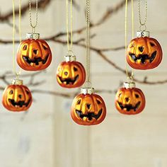 Lillian Vernon Glass Jack-O'-Lantern Halloween Ornaments- Set of inch Pumpkin Ornaments Halloween Ornaments, Halloween Trees, Halloween Fun, Vintage Halloween, Halloween Decorations Clearance, Lillian Vernon, Current Catalog, Hanging Banner, Jack O