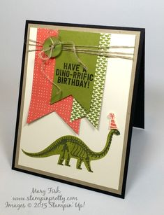 Dinosaur Stampin' Up! No Bones About It StampinUp stamp set birthday card by Mary Fish Stampin Pretty Stamping Blog right