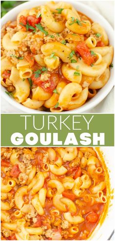 Turkey Goulash is the classic goulash you know and love but made with ground turkey! Pasta in a rich tomato sauce, all cooked in one pot!
