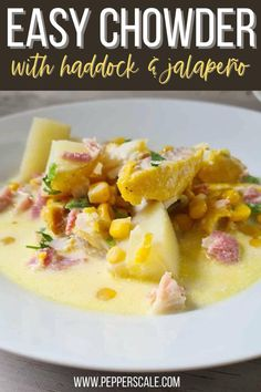 Smoked haddock and jalapeño chowder is delicious. That smokiness is just so perfect with the cheesiness and spicy kick. And it's such a natural complement to the bacon used in this recipe too. #smokedhaddock #jalapeno #chowder #smokedhaddockandjalapenochowder