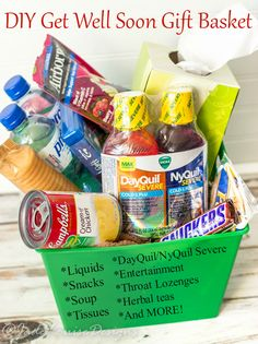 Use our Tutorial and ideas to put together an awesome Get Well Soon Gift Basket to help out your friends or family and help them get well soon.