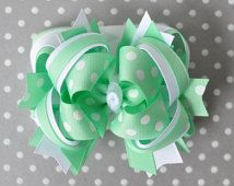 Mint green hair bow for girls, Mint baby headband bow, Girls Pastel bow, Mint hairbow for toddler, Green over the top bow, Boutique hair bow