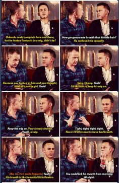 Dominic Monaghan and Billy Boyd discussing Orlando Bloom, OT3?