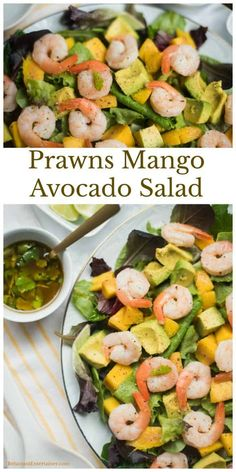 Celebrate spring by serving this Mango Avocado Salad with Fresh Prawns for brunch, a luncheon, or a holiday meal! Top Recipes, Side Dish Recipes, Dinner Recipes, Delicious Recipes, Healthy Recipes, Simple Recipes, Skinny Recipes, Healthy Salads, Seafood Recipes
