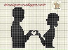 Couple silhouette x-stitch with heart hands Cross Stitch Pictures, Cross Stitch Heart, Cross Stitch Flowers, Wedding Cross Stitch Patterns, Cross Stitch Designs, Cross Stitching, Cross Stitch Embroidery, Pinterest Cross Stitch, Blackwork