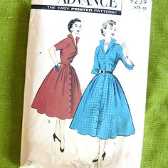 1950s Vintage Dress Pattern Full Skirted by SelvedgeShop on Etsy