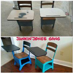 Two old Elementary school desks. Miss Lillian's No-Wax Chock Paint Cornflower and Venice Painted School Desks, School Desk Makeover, Old School Desks, School Tables, Refurbished Furniture, Repurposed Furniture, Furniture Makeover, Painted Furniture, Antique School Desk