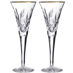 Waterford 'Lismore Essence Gold' Lead Crystal Champagne Flutes ($175) ❤ liked on Polyvore featuring home, kitchen & dining, drinkware, frames & background, clear, waterford champagne flutes, waterford, gold champagne flutes, modern champagne flutes and waterford flutes