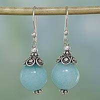 Aqua Aventurine and Sterling Silver Dangle Earrings #handmadejewelry Sterling Silver Dangle Earrings, Beaded Earrings, Earrings Handmade, Handmade Jewelry, Hoop Earrings, Diy Elegant Earrings, Flower Earrings, Wire Jewelry, Jewelry Crafts
