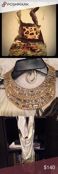Key-hole halter mini Gorgeous. Swarovski detailed neck (gold hardware) Never worn. Bodycon type dress. Ruched at rear Sky Dresses Mini
