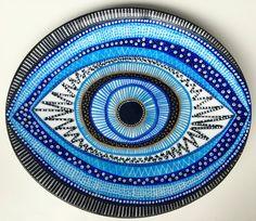 Decorative Plate  Evil Eye Plate  Original by biancafreitas