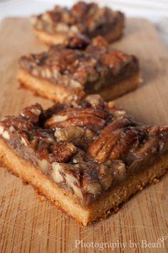 Gluten free, sugar free pecan pie bars!