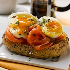Eggs & Smoked Salmon Bagels - The smoked salmon in this recipe could be replaced with slices of cooked ham or cured tongue; or try wilted spinach for a vegetarian alternative