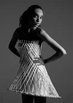 Architectural Fashion - sculptural dress design with intricate scaffolding-like structure; 3D fashion // Winde Rienstra