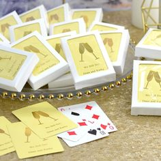 Make your wedding day game playing personal with these standard size coated playing cards personalized with your choice of wedding design and two lines of custom print in 11 foil imprint color options. Add a deck of cards to hotel welcome bags to complete your custom look or use them as the perfect favor that entertains by placing a deck at each place setting, or stack them on your favor table for easy access. Wedding Gift Bags, Wedding Pins, Wedding Cards, Wedding Favors, Wedding Ideas, Anniversary Party Favors, Happy Anniversary, Lilac Wedding, Wedding Bouquets