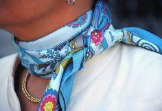 Tied like a choker. silk neck scarf