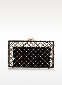 Linear Pandora Black and Gold Clutch - Charlotte Olympia