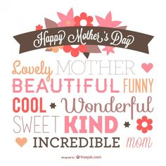 Mother's day typography design  Free Vector