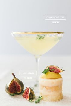 Champagne Pear Cocktail and Mini Naked Fig Cakes: http://www.stylemepretty.com/living/2015/10/06/champagne-pear-cocktail-and-mini-naked-fig-cakes/ | Photography: Maxeen Kim - http://www.maxeenkimphotography.com/