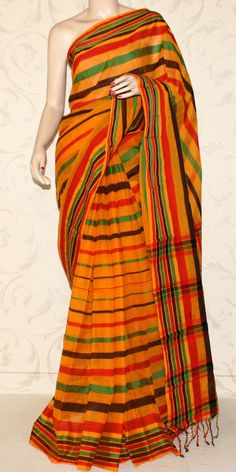 Multicolour Handloom Cotton Saree (with Blouse) 13190 Cotton Sarees Online, Indian Look, Saree Styles, Churidar, Blouse Designs, Indian Fashion, Tie Dye Skirt, Sari, Elegant