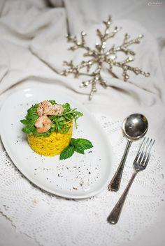 Safranrisotto mit Garnelen, Risotto mit Garnelen, Recipe for risotto with shrimps, festive risotto, festive starter, winter risotto, shrimp risotto