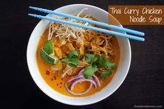 Thai Curry Chicken Noodle Soup - surprisingly easy to make, and huge flavor! | foxeslovelemons.com